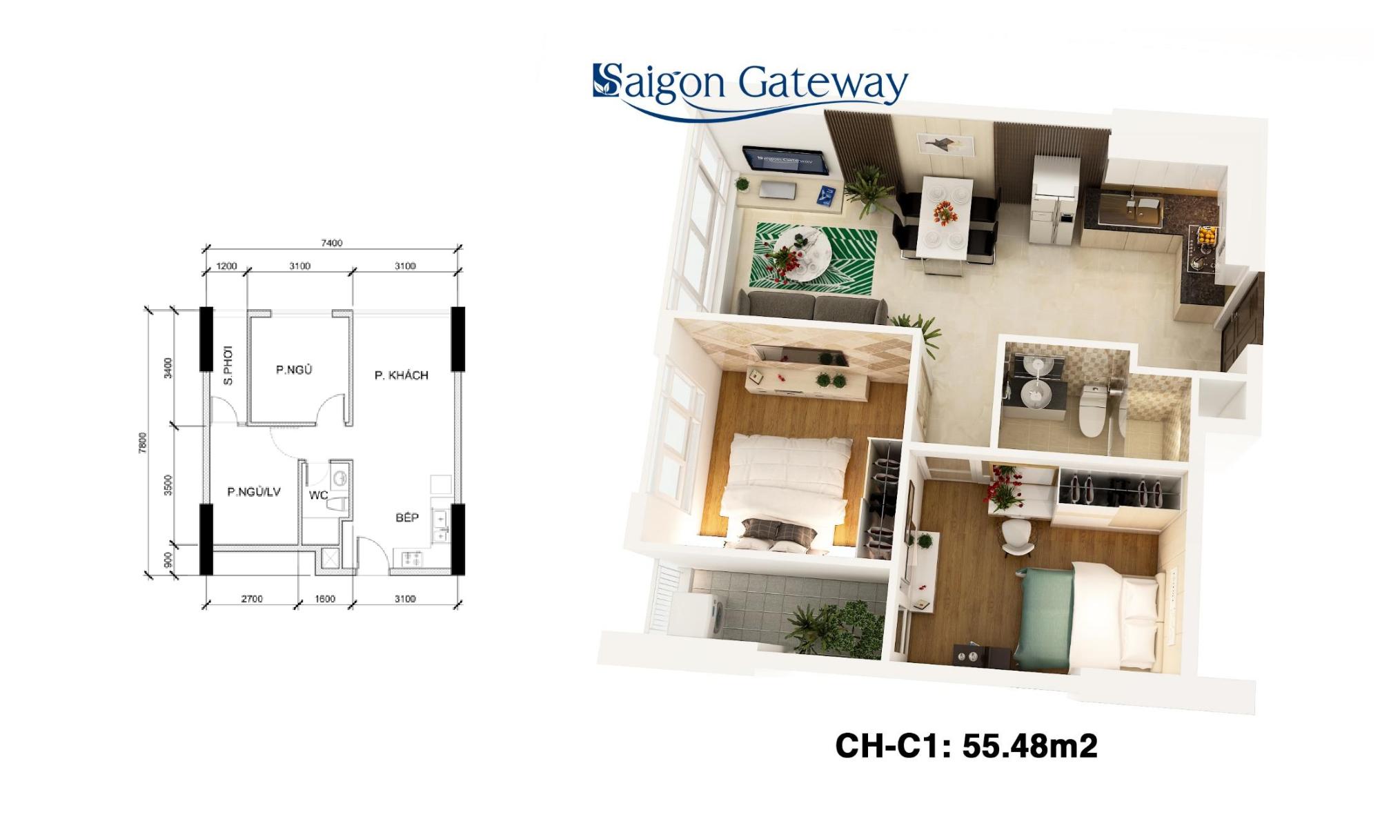 phoi canh can ho saigon gateway 55m2