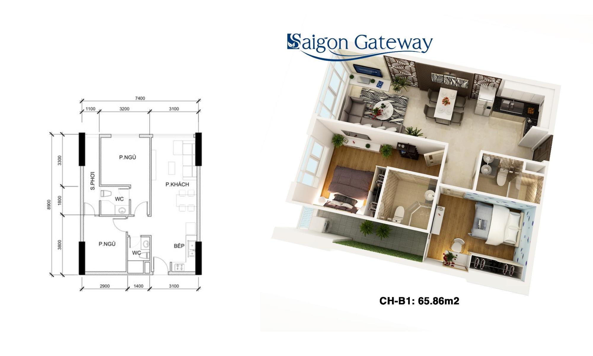 phoi canh can ho saigon gateway 65m2
