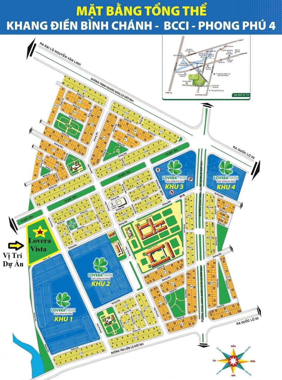 Mặt bằng tổng thể Khang Điền Bình Chánh khu Phong Phú 4