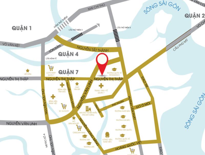Vị trí dự án South Gate Tower Q7