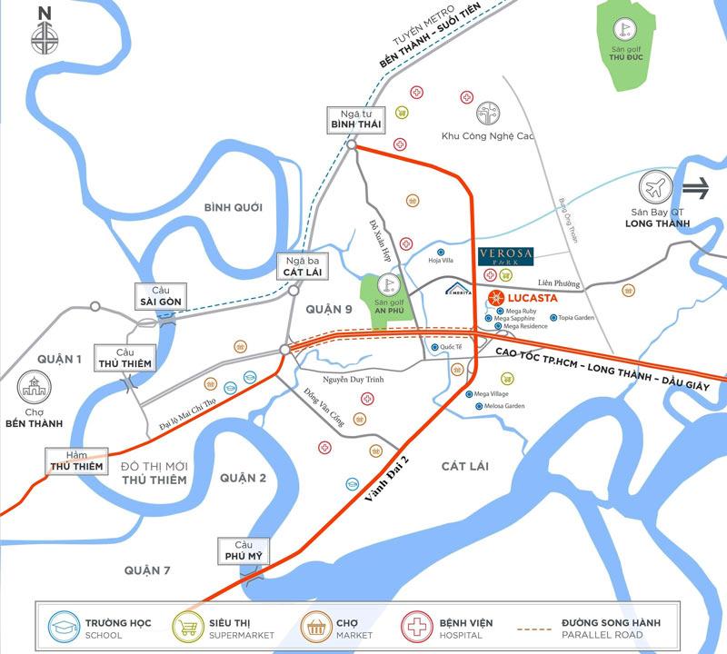 Vị trí dự án nhà phố biệt thự Verosa Khang Điền tại quận 9