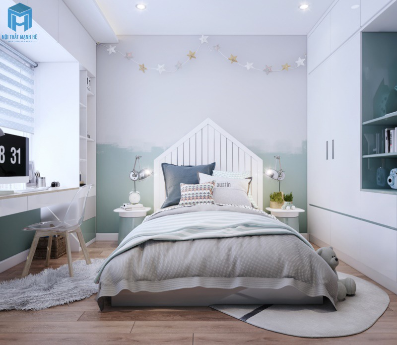Phòng ngủ màu xanh pastel cho bé trai