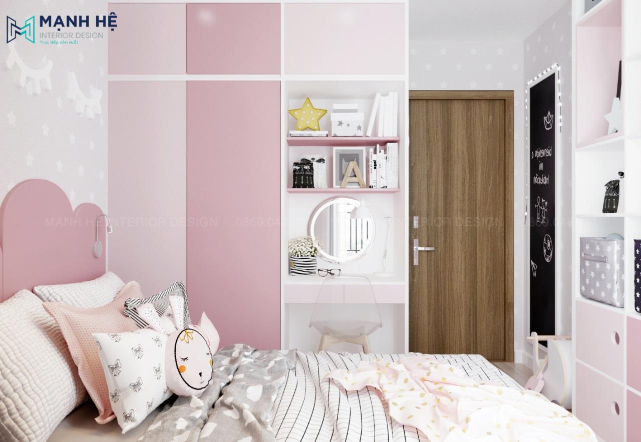 Thiết kế phòng ngủ bé gái màu nhẹ nhàng