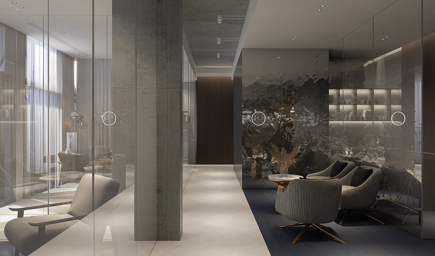 Thiết kế các bức tường nơi văn phòng