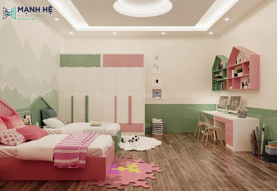 Phòng ngủ chung cho bé trai và bé gái mang cá tính riêng