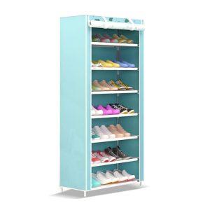 kệ để giày dép 7 tầng màu xanh