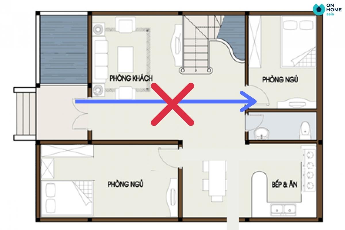 Cửa phòng ngủ không nên đặt đối diện cửa chính